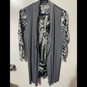 Gray and black animal print blouse with gray vest